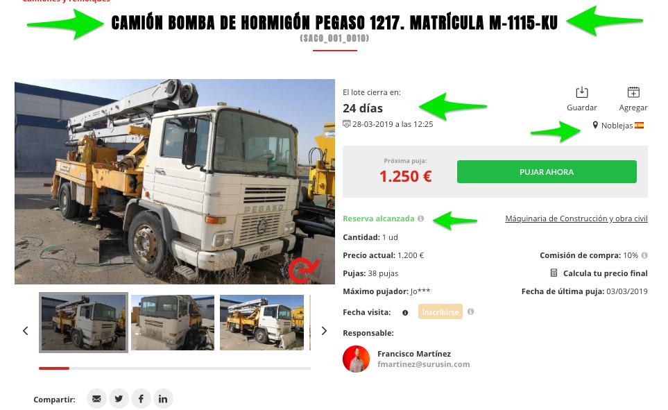 Camio n bomba de hormigo n Pegaso 1217 Matri cula M 1115 KU4
