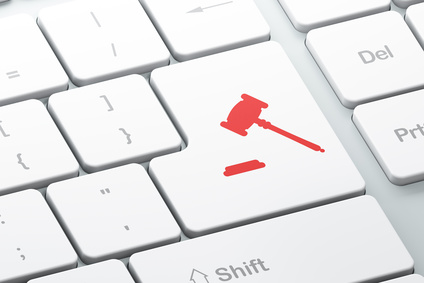 Law concept: Enter button with Gavel on computer keyboard background, 3d render