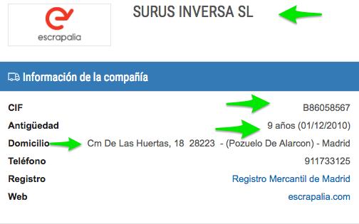 SURUS INVERSA SL MADRID Informe comercial de riesgo financiero y mercantil 3